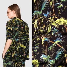 beach wind leaves and insect print polyester silk satin fabric,coconut tree shirt or dress imitate silk fabric