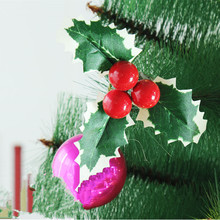 2015 new 14cm clip clover decorative flowers rattan christmas wreath cutting red berries decorate 7g