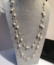 New arrival classic double layers simulated pearl long necklace women bijoux fashion jewelry gift