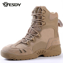 Esdy Winter Men's Desert Camouflage Genuine Leather Army Combat Boots Men High Military Tactical Hiking Boots Coturnos Masculino(China)