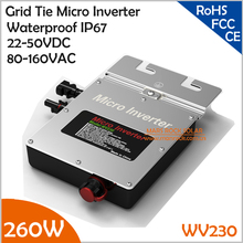 New Design Waterproof IP67!!! 260W Grid Tie Micro Inverter, 22-50VDC to AC80-160V Pure Sine Wave with MPPT for 200-260W PV Panel