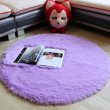 Home Supplies 3 Size Large Long Plush Shaggy Soft Round Carpet Non-Slip Floor Rug Yoga Mat For Bedroom Parlor Living Room