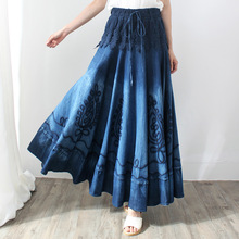 Spring Summer Vintage Casual Womens Embroidery Elastic Waisted  Pleated Denim Skirt , Fall Long Jeans Skirts For Woman