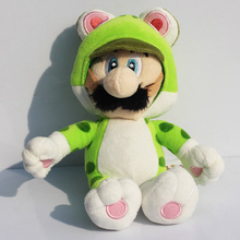 "100pcs/lot 7""18cm Super Mario 3D Super Mario Bros Green Cat Luigi Plush Doll Toy for kids EMS Free(China)"