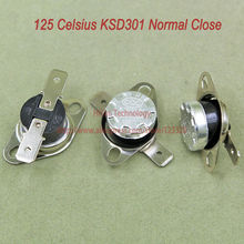 10pcs/lot KSD301 Thermostat Normally Normal Close 125 Degrees Celsius Thermostat Switches NC Temperature Switch(China)