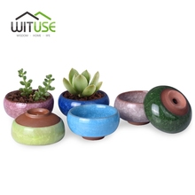 "WITUSE Cute Ice-Crack Bonsai Ceramic Flower Pot Succulent Plants Potted Desk Decor Glazed Ceramic Pot For Home Office 2.5*1.3""(China)"