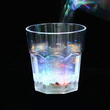 12pcs/lot Colorful LED Lighting Cups Transparent Acrylic Flash Lamp Beer Glass Mugs Party Banquet Prom Necessity L321