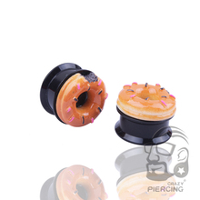 3D Doughnut On The Screw Ear Plug Top Acrylic Ear Plug Gauge Flesh Tunnel Body Piercing Jewelry