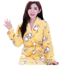High Quanlity Soft Warm Coral Velvet Women's Flannel Loose Bathrobe Homewear Pajamas with Pocket Belt in Winter or Autumn(China)