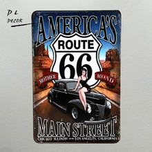 DL-AMERICAN'S MAIN STREET Route 66 hot rods cars vintage look tin metal sign modern wall art