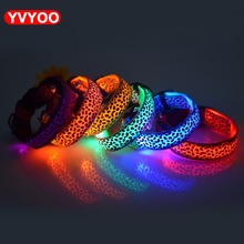 Leopard LED Pet dog Collar Night Safety Flashing Glowing Collar Leash For Dogs Luminous Fluorescent Anti-lost Leads Pet Supplies(China)