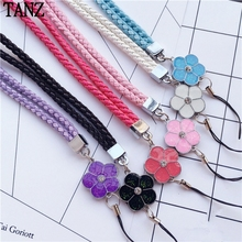 Luxury Bling Clover Tags Lanyard Neck Strap Neck Strap for Key ID Pass Card Mobile Phones Camera MP3 MP4 Holder(China)