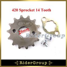 420 14 Tooth 20mm Front Engine Sprocket Gear Lock For 50cc - 160cc Lifan YX Chinese ATV Quad Motorcycle Pit Dirt Monkey Bike
