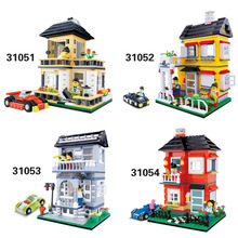 Assembled Wood Blocks Fancy Urban Villa House Building Model To Hold 31051-31054(China)