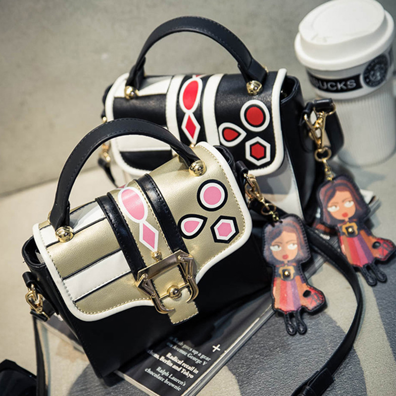 2017 Summer New Handbag Fashion Trends Hit The Color Printing Small Square Bag Shoulder Bag Messenger Bag Cartoon Pendant<br><br>Aliexpress