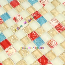 Yellow Crystal Glass Tiles Conch Sea Shell Bathroom Wall Tile Backsplash Kitchen Mosaic Red Resin Mosaic(China)
