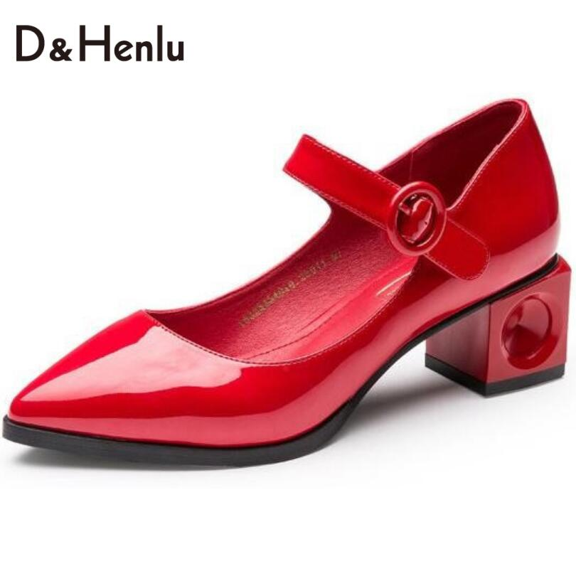 {D&amp;H}Shoes Woman Retro Mary Janes High Heels Women Square heel Med Heel Point Toe Buckle Strap Womens Pumps Patent leather <br><br>Aliexpress