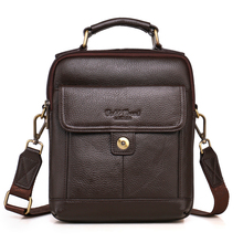 NEW Fashion 100% genuine leather men bag head layer cowhide small messenger bag Brand design casual bag business bag