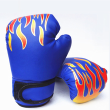 Children Adult Fitness Sports Boxing Gloves Flame Printing Thickening Pads Free Combat Kickboxing Fight MMA Muay Thai Training(China)