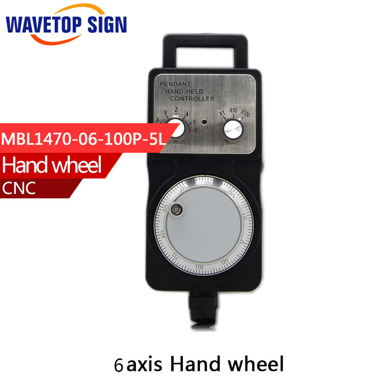 Handwheel pulse generator CNC electronic hand wheel 6 axis  MPG MPG diameter 80 DC5V 6pin pulse 100<br>