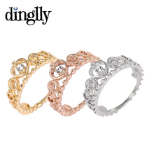 DINGLLY Classic 3 Color ( Gold Color, Silver Color, Rose Gold ) Princess Crown Pandora Ring Jewellery For Women(China)