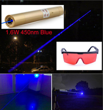 Gold color Copper material 1.6W Blue Laser Pointer zoom in/zoom out Strong Visible Beam Laser Module Flashlight for plastic Carv