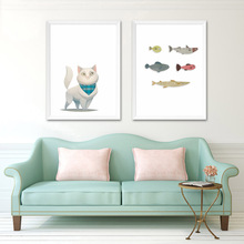 Cartoon Cat Fish Canvas Poster Funny Nordic Art Minimalist Painting Nursery Wall Picture Children Room Decoration(China)