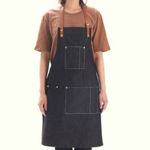 Blue/Black Denim Bib Apron w/ Leather Strap Barber Barista Florist Cafe Chef Bar Uniform Home BBQ Carpenter Painter Workwear K8N(China)