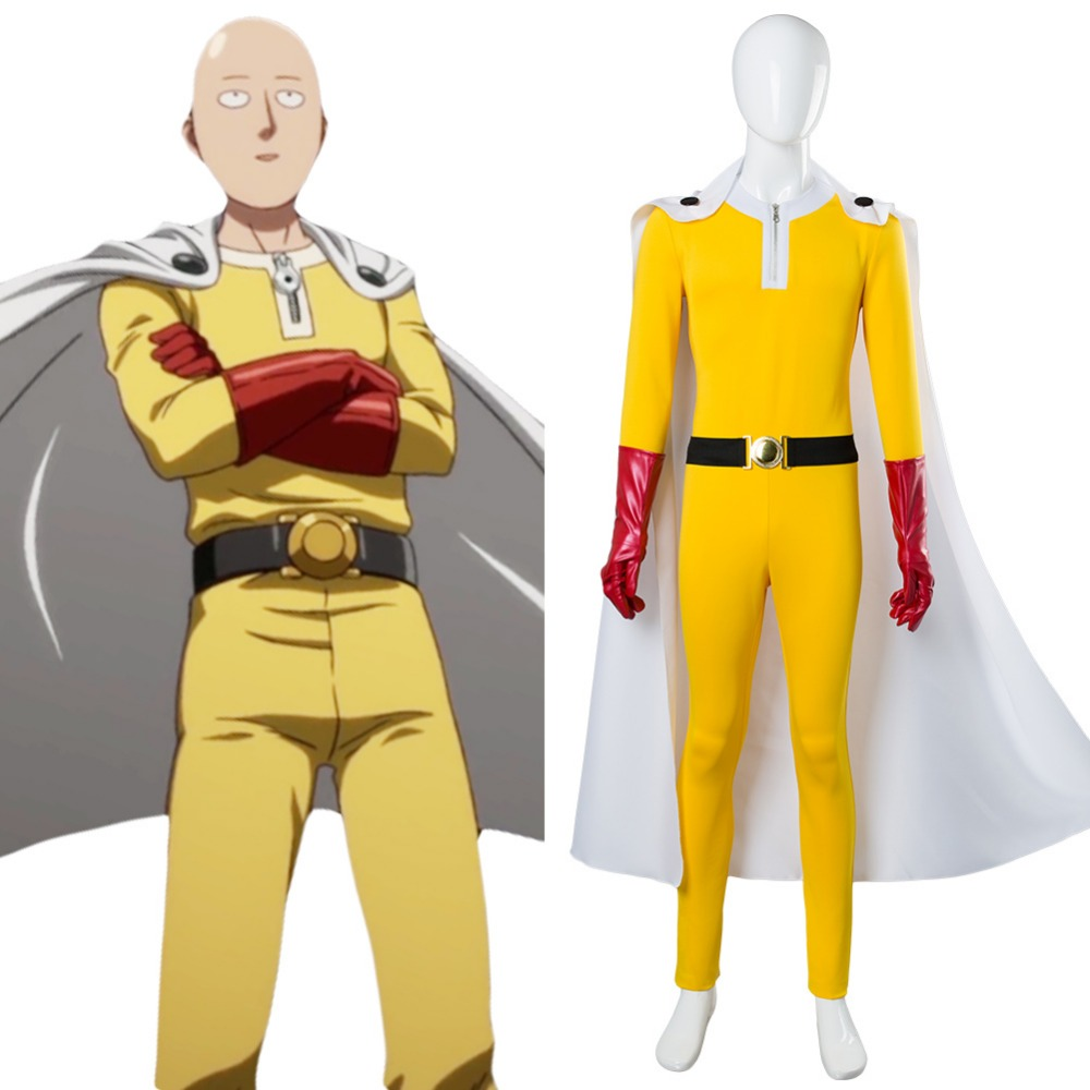 One Punch Man Cosplay One-Punch Man Hero Saitama Cosplay Costume Jumpsuit Full Sets Outfit Uniform Halloween Superman Costume