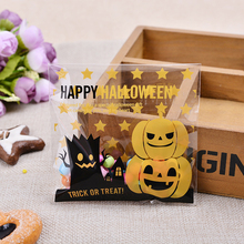 100Pcs DIY Halloween Yellow pumpkin Gifts Bags Plastic Clear Candy Cookies Birthday Party Craft Bags Packaging Bags Wholesale(China)