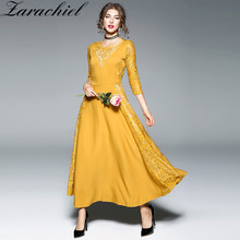Zarachiel New Elegant Yellow Black Lace Patchwork Longo Dress Vestidos De Fiesta Spring Women Hollow Out Maxi Dress Robe Longue(China)