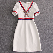 Best Buy New Fashion Women Apr13 Spring Dress Europe Style Design Vintage Bow V-Neck Short party style dress L1006