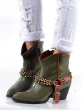 Sexy Ladies Short tube boots belt buckle chain Martin boots female leather Cowboy band Zapatos botas  Army green color Mujeres