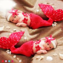 Buy Crochet Mermaid baby costume photography props knitting baby clothing set infant baby photo props baby girls cute outfits R2-16H for $8.40 in AliExpress store