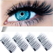 3D Double Magnetic Eyelashes Natural Beauty No Glue Reusable Fake Eye Lashes Extension Handmade 4PCS(China)