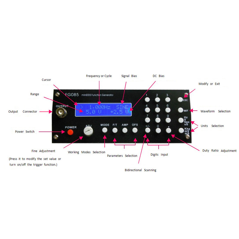 Mini DDS Digital Synthesis Function Signal Generator DIY Kit with Panel Sine Square Sawtooth Triangle Wave generador de funcione<br><br>Aliexpress
