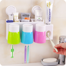 Bathroon Wash Suit Auto Toothpaste Dispenser Squeezer Suction Toothbrush Wall Sucker Holder Bath Set With 3 Water Cups Organizer
