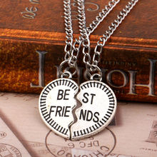 2pc BFF Broken Heart Best Friends Pendant Necklace Special Gifts Chain Friendship Forever Jewelry Charm Women Men Necklace