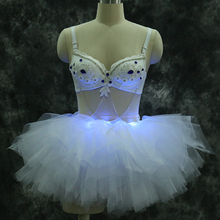LED luminous cloth ballet suit dress for DJ Club stager dancer singer wear lighting costume sexy dress