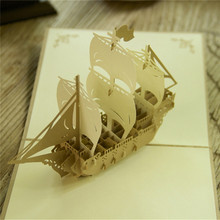 3D Sailing Boat Handmade Kirigami Origami Pop UP Greeting Cards For Birthday Gift Postcards Paper laser cut Thank you cards(China)