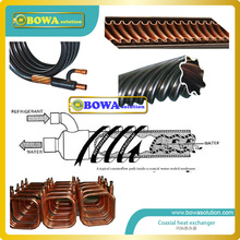 2.6KW outer and inner copper tubes Coaxial heat exchanger for water cooled refrigeration plant