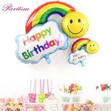 2pcs Foil Balloons Happy Birthday party Wedding Decoration Large size Smile Face Rainbow Globos balls Have A Nice Day kids toys(China)