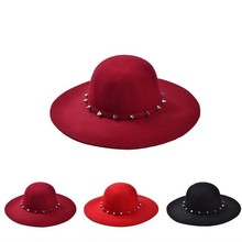 Free Shipping 2014 New Fashion Wine Red /Red /Black Wool Floppy Hats With Studs Big Brim For Women /Ladies