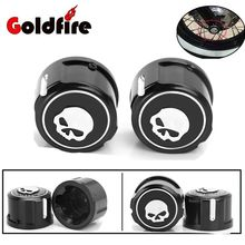 Motorcycle Skull Front Axle Cover Blot Caps For Harley Davidson Sportster XL 883 1200 Softail 08-16 Electra Street Glide Black