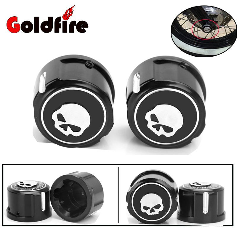 Motorcycle Skull Front Axle Cover Blot Caps For Harley Davidson Sportster XL 883 1200 Softail 08-16 Electra Street Glide Black<br>