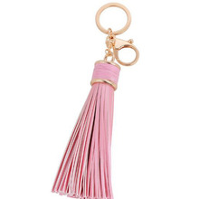 Fashion Leather Long Tassel Car Key Chain Ring Bag Cell Phone Pendant Charm