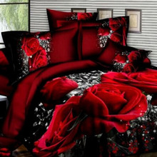 4PCS/SET High Quality New Scenic Rose 3D Sanding Flower Pattern Bedding Set Quilt Case Bed Sheets Pillow Case
