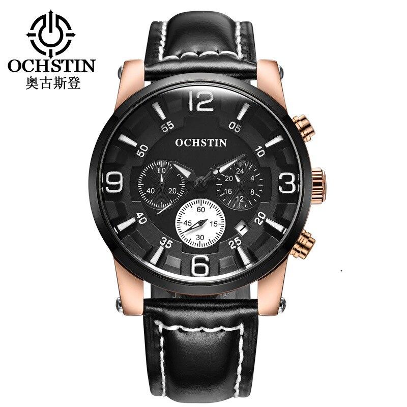 OCHSTIN luxury mens sports watches genuine leather brown black business man quartz wristwatches waterproof calendar Chronograph<br>