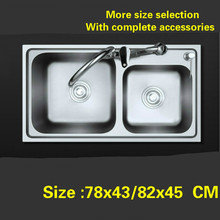 Free shipping Food grade 304 stainless steel hot sell standard kitchen sink double groove 78x43/82x45 CM(China)