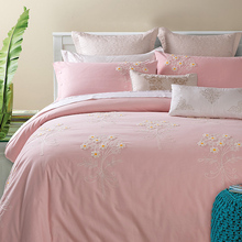 Pink duvet cover embroidery pillowcases button designer bedding set sanding cotton bedspread duvet cover set queen king size